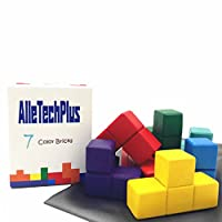 AlleTechPlus Soma Cube Wood Tetris Puzzle Box Cube Stacking Blocks Games with 7 Colorful Bricks