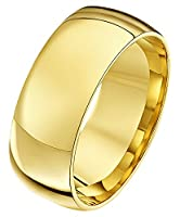 Theia Unisex Heavy Court Shape Polished 9 ct Yellow Gold 8 mm Wedding Ring - Size W