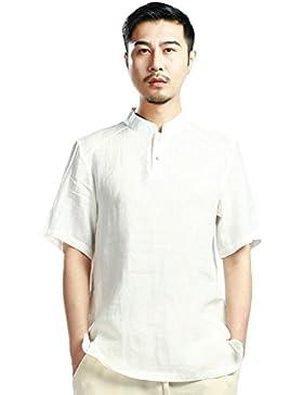 SK Studio -  Camicia Casual  - Tunica - Basic - Collo mao  - Maniche corte  - Uomo