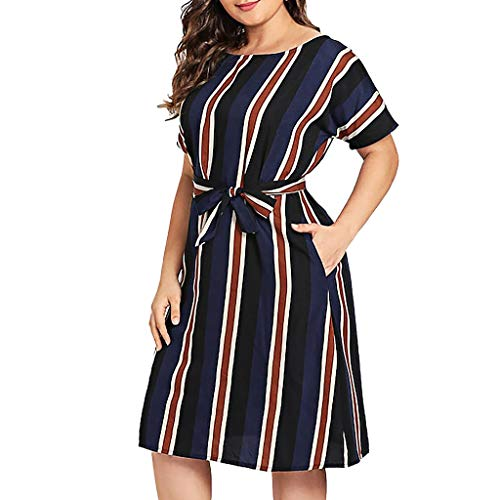 Obestseller Damen-Kleider Freizeitkleider für Damen Sexy Kleid Mädchen Kleid Party Fashion Womens O-Neck Streifen Kurzarm Plus Size Kleid Krawatte Taille Kleid