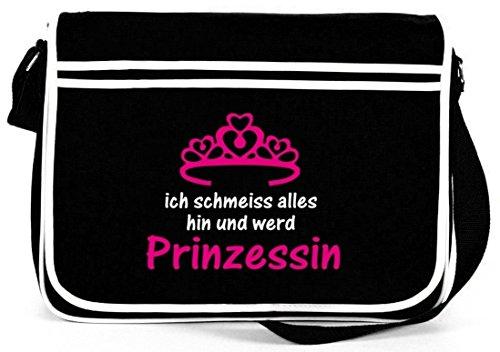 Shirtstreet24, ICH WERD PRINZESSIN, Retro Messenger Bag Kuriertasche Umhängetasche Schwarz
