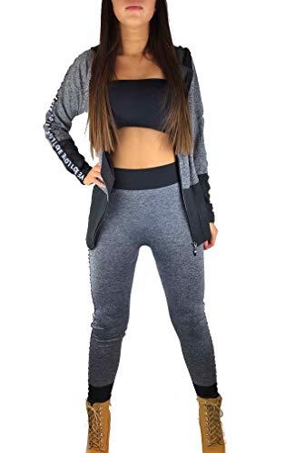 Worldclassca Damen Jogginganzug Jogging Trainingsanzug Fitness Yoga Gym Sportanzug Streifen Love Jacke Hose Set Sporthose Sport Langarm Zip Hoodie Blogger NEU (One Size (S-XL), Grau-Love)