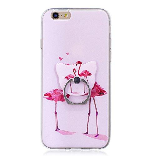 Hülle für Apple iPhone 6S / 6 , IJIA Transparent Bunt Mandala Blume TPU Weich Silikon Stoßkasten Cover Handyhülle Schutzhülle Handytasche mit 360 Grad Drehung Finger Ring Case Tasche für Apple iPhone  FD60