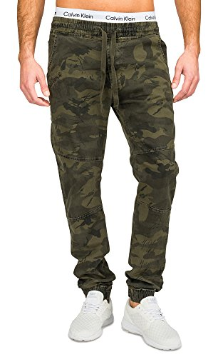 Pantaloni da uomo Camouflage YSW Five Pocket Slim Nr.1681, Farben:Green;Größe-Hosen:2XL