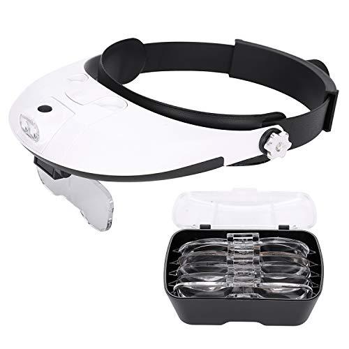 Lupenbrille Kopflupe LED Brillenlupe Leselupe Vergrößerungsbrille mit Beleuchtung Lesehilfe Lupe...