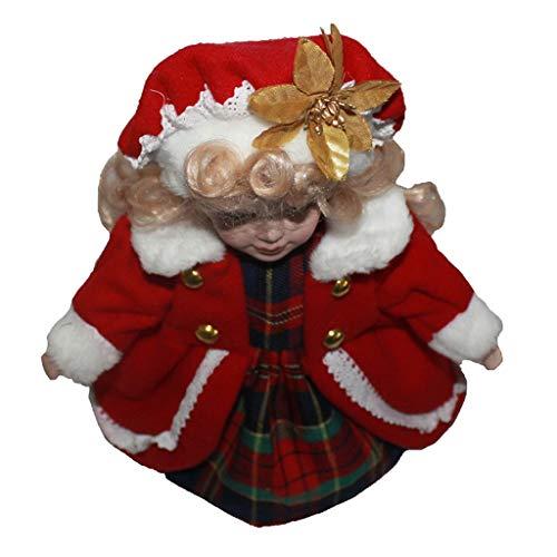 F Fityle 30cm Viktorianische Porzellanpuppe, Künstlerpuppe Mädchen Puppe im Rote Mantel - # 2