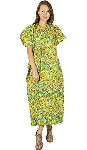 Phagun Caftan Robe Bohème Coton Femmes Kaftan Maxi Pyjamas Pale Jaune
