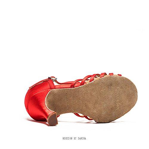 TMKOO& Tre donne adulte in scarpe Salahuddin in pelle scarpe da ballo in raso sala da ballo scarpe da ballo fondo morbido Rosso