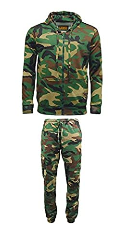 Hommes de jeu en polaire Motif camouflage Sweat à capuche zippé pour homme pour jogging Bas Camping Chasse Pêche - -