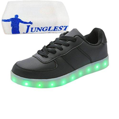 (Présents:petite serviette)JUNGLEST® KE Unisexe Multicolor USB Rechargeable Etanche 11 Chaussures Led Lumière Nuit Courir Chaus Black