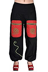 Indi Bargain Cotton Trouser Rajsthani Solid trendy tuffy Afghani Trouser (Black)