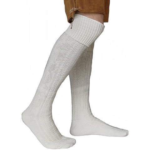 LONG traditional socks, knee lengh stockings, braided-look, White 75cm , sockengröße5:35-38 (disfraz)