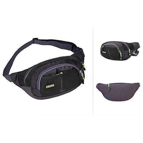 moyun Taille Taschen Wasserdichte Unisex-Running Gürtel Bum Camping Sport Wandern Zip Bag 8Farbe schwarz