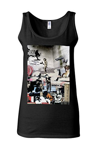 Banksy Street Art Graffiti Novelty White Femme Women Tricot de Corps Tank Top Vest *Noir