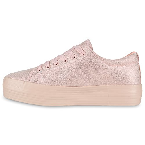 Damen Plateau Sneaker | Prints Metallic | Plateauschuhe 90s Look | Sneakers Stoffschuhe | Schnürer | Prints Blumen Lack Glitzer Rosa Rosa EczmW09