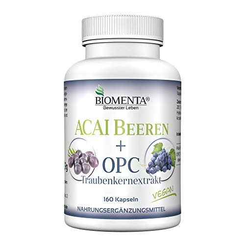 BIOMENTA ACAI BEEREN + OPC-Traubenkernextrakt | AKTION!!! | 30.000 mg ACAI Extrakt + 150 mg OPC-Traubenkernextrakt | 160 Acai Kapseln | VEGAN