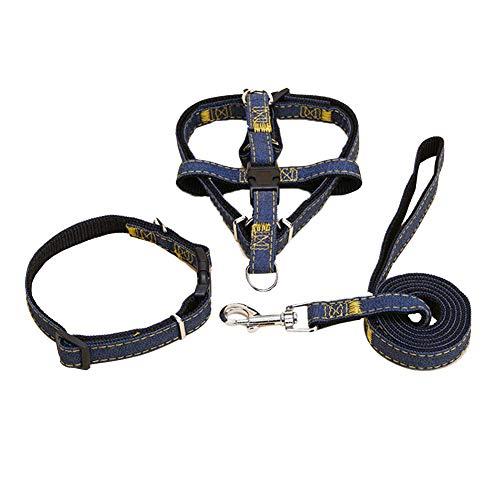 Bontand Hunde Leine Harness Verstellbares Band Welpen Haustier Hund Combo Kragen-Leine Gurt Und Leine-Kragen-Set Für Gehtraining -