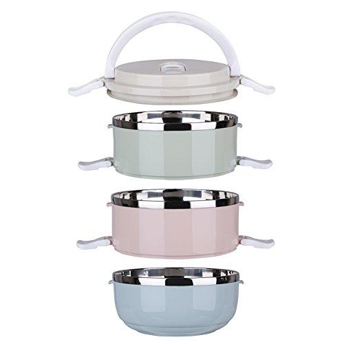 Bunte Lunchbox Tragbare Isolierung Edelstahl Wärmeisolierung mit Griff Mittagessen Behälter Bento Box für Kinder und Erwachsene, wählbar 1/2/3/4 Layer (3 Layer)