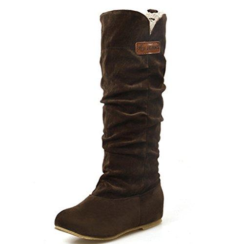 Herbst Winter Langschaft Stiefeletten Wärm Stiefel Schlupfstiefel Winterstiefel Boots Elegant Flache Schuhe für Damen Mädchen, Deep Braun 39EU (Leder Flache Schuhe)