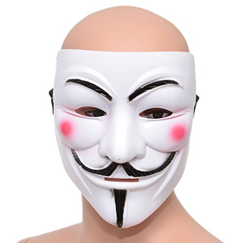 Gifts 4 All Occasions Limited SHATCHI Unisex Adulto Anónimo V para Vendetta Guy Fawkes Fancy Dress Costume Halloween Trick o Treat blanco Face Mask con correa elástica