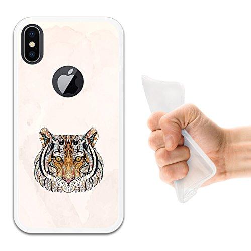 iPhone X Hülle, WoowCase Handyhülle Silikon für [ iPhone X ] Abstrakterfeuerdragon 2 Handytasche Handy Cover Case Schutzhülle Flexible TPU - Schwarz Housse Gel iPhone X Transparent D0201