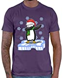 HARIZ  Herren T-Shirt Dab Pinguin EIS Weihnachten Mütze Dab Teenager Dance Halloween Inkl. Geschenk Karte Lila XL