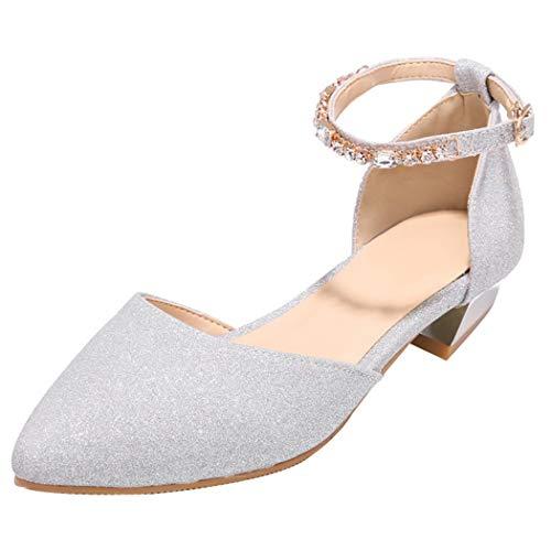Coolulu Damen Glitzer Pumps Flach mit Riemchen Ankle Strap Dorsay 2cm Absatz Schuhe (Silber,39) Ankle Strap Dorsay Pump