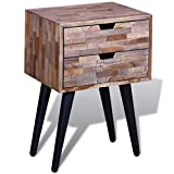 Zora Walter Handgefertigt Nachttisch mit 2 Schubladen Altholz Teak Schubladenschr?nke Seitenschrank Beistellschrank Nachtkonsole Kaffeetisc Sideboard