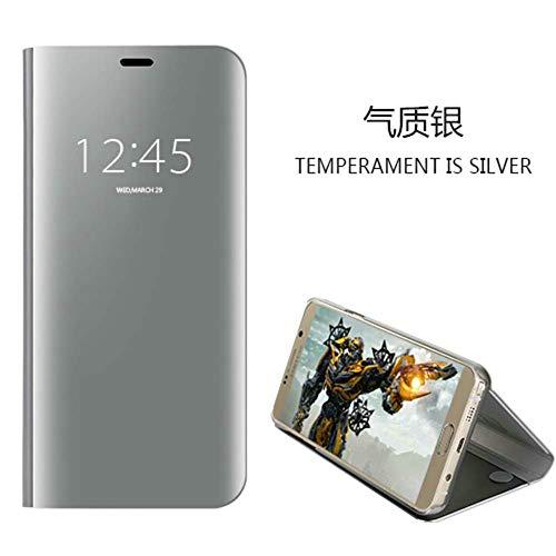 Funda XiaoMi Mi 8 lite,Carcase XiaoMi Mi 8 lite+Protector de Pantalla Clear Standing Flip Case Caso Skin espejo estilo libro carcasa con óptica de aluminio Cover plegable en reflectante Plata