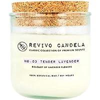 Große Duftkerze aus Pflanzenwachs im Glas 250 g Lavendel Duft No. 03 Tender Lavender lange Brenndauer Revivo Candela Classic Collection