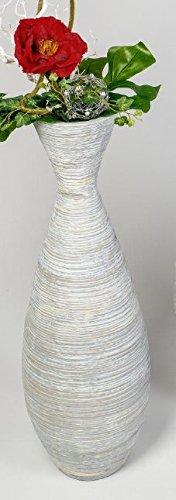 Formano 759580 Bodenvase 80cm Ravello creme-grau aus schwerer Keramik mit matter, reliefierter Oberfläche, schön zu rustikale Dekorationen