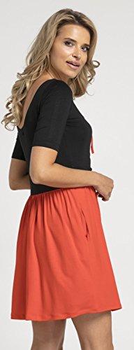 Happy Mama.Damen Umstands Stillkleid Mini Schaukel Kleid Kurzarm.677p. (Black & Red) - 5