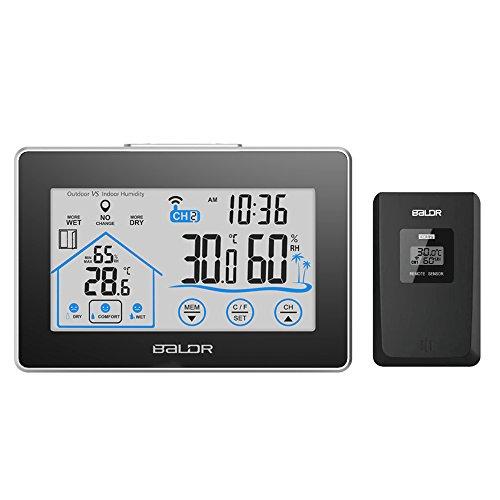 MEKEET Wetterstation Funk Mit Außensensor Funkwetterstation digital Thermometer Farbdisplay mit Touchscreen Hygrometer mit LED-Bildschirm Innen- und Außen für Zuhause Schlafzimmer Büro