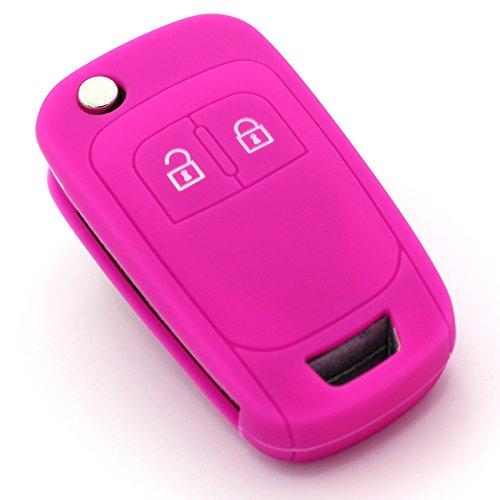 Schlüssel Hülle OE für 2 Tasten Auto Schlüssel Silikon Cover von Finest-Folia (Neon Pink)