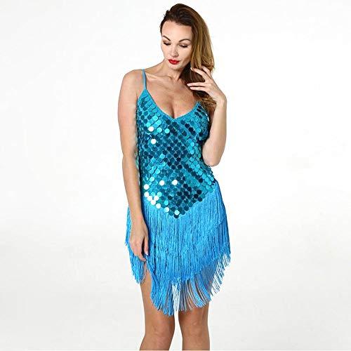 Lyrischen Tanz 2 Stück Kostüm Blau - ZONA Elegent Latin Dance Kostüm, Sexy Unterkleid Mit Pailletten Quaste Ärmellos Rückenfrei Blau Gold Splitter Charming (Color : Blue, Size : Free Size)