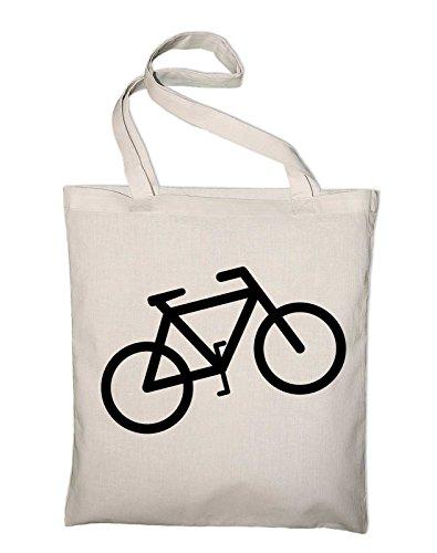Fahrrad Bike Logo Piktogramm Jutebeutel, Beutel, Stoffbeutel, Baumwolltasche, gelb Natur