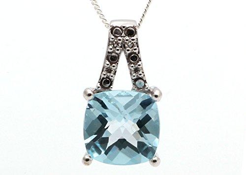 Precious Jewels UK, con diamante e topazio blu, forma a cuscino, certificato dalla AGI. spedizione