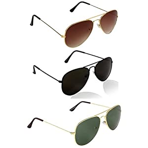 Combo Set of 3 UV Protect Aviators Unisex sunglasses & goggles for Men/Women with three Boxes (GoldenBrown | FullBLack | GoldenGreen)
