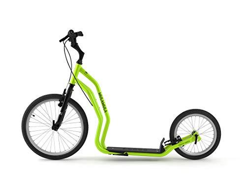 Yedoo Mula Tretroller - bis 150 kg, Kickscooter mit Luftreifen 20/16 - für Erwachsene, Scooter Roller mit Ständer und verstellbare Lenker, Dogscooter, grün