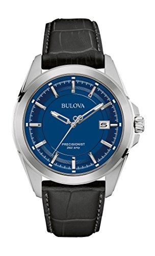 Bulova à quartz pour homme en acier inoxydable et cuir Noir Dress montre (modèle: 96b257)