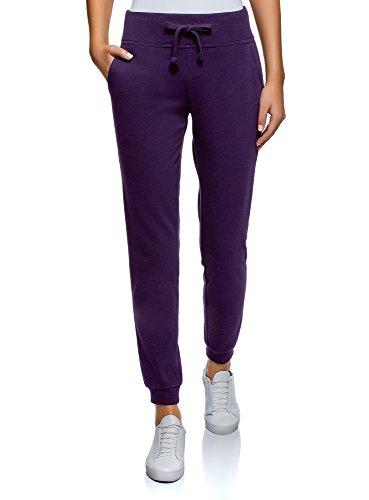 oodji Ultra Damen Sport-Hose mit Bindebändern, Violett, DE 34 / EU 36 / XS