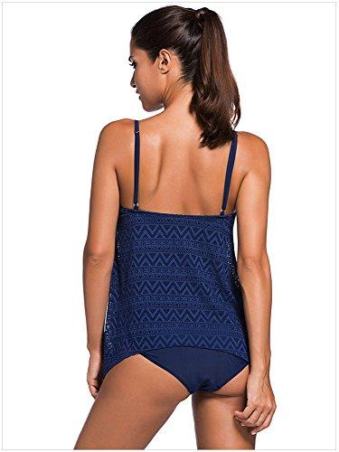 Fortuning's JDS Merletti il vestito bagnantesi a due pezzi superiore di colore solido di Tankini della cinghia del Crochet con il riassunto dei bikini Blu