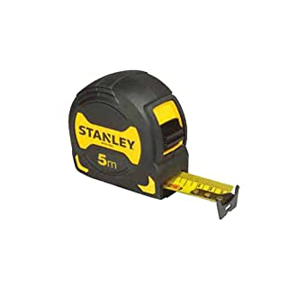 Stanley Bandmaß Grip (5 m Länge, schockabsorbierende Gummierung, Gürtelclip, Feststeller, Nylon-Überzug) STHT0-33561