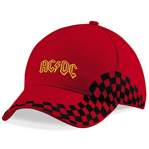 AC DC AC-DC Hard-Rock-Band Bestickte Baseball Mütze Grand Prix Cap - 1148 (ROT) - Dc-mütze