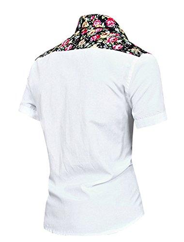 Allegra K Hommes Manches Courtes Imprimés Floraux Chemise white