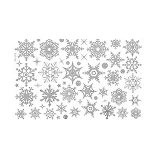 Creative Shining Christmas Snowflakes Wandaufkleber, entfernbar, PVC, silberfarben