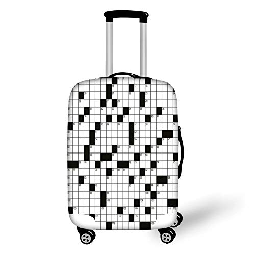 Travel Luggage Cover Suitcase Protector,Word Search Puzzle,Classical Crossword Puzzle with Black and White Boxes and Numbers Decorative,Black and White,for Travel,M -