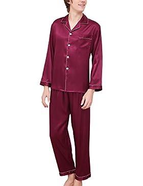 Dolamen Pijamas para Hombre Satén Largo, Hombre Parejas Primavera Verano camisones Pijamas de parejas Ropa de...