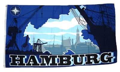 Fahne / Flagge Hamburg Silhouette NEU 90 x 150 cm