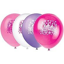 Princesa - globo con el corazón y formas florales en motivo de la corona en-rosa rosa Desig ...